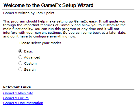 Setup Wizard Configuration Guide | GameEx